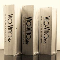Vio Vino Holzkiste Natur mit Logo, 2x0,75l