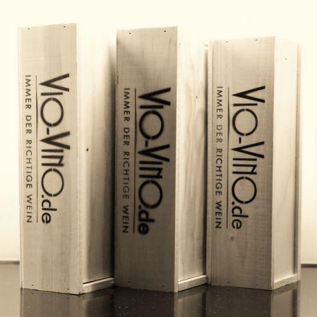 Vio Vino Holzkiste Natur mit Logo, 3x0,75l